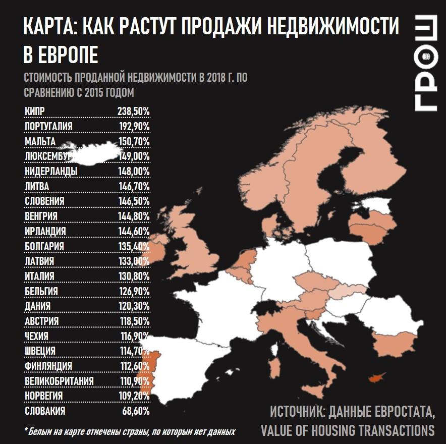 карта сколько недвижимости продается в европе